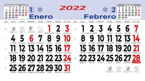 Calendarios pared faldilla bimensual