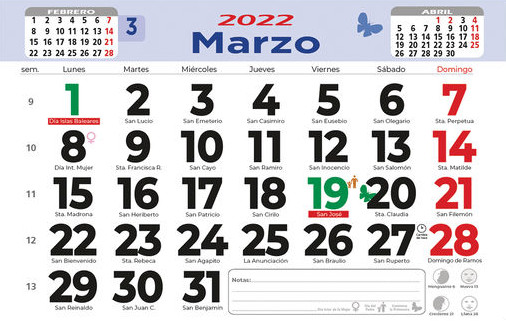 Calendarios pared faldilla mensual